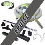 Trousse 8 accessoires + 1 flexible 12 m avec bouton marche/arrêt et nouveau terminal rotatif 360°à chaque extrémité