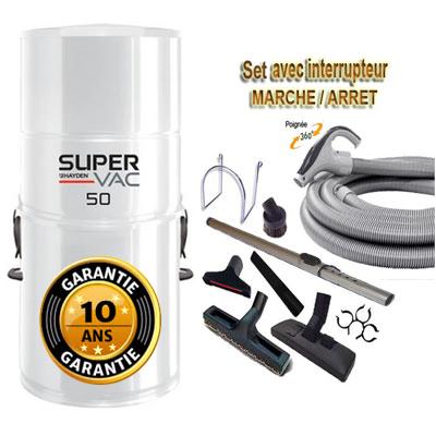 Aspirateur central hybride HAYDEN SuperVac 50 GARANTIE 10 ANS (jusqu'à 250 m²)+ trousse inter 9 ML + 8 accessoires + 1 Aspi-plumeau offert