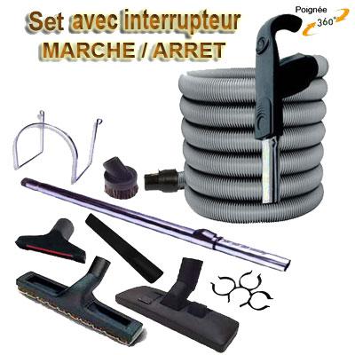 Set 8 accessoires + 1 flexible 10,50 m premium Plastiflex avec bouton marche/arrêt