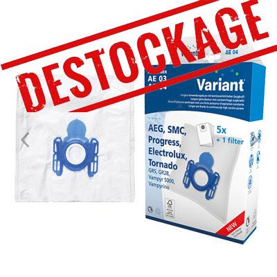 Lot de 5 sacs microfibre AE04CAP / AE03CAP, AEG AE4586, GR5, GR28, H2000, VCH3609, Electrolux Ergo Essence, Ergo Essence 4580, Z5305