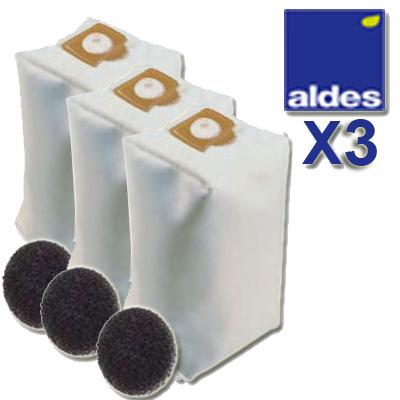 Lot de 3 sacs ALDES Universels d'une capacité de 30 litres + 3 filtres moteur