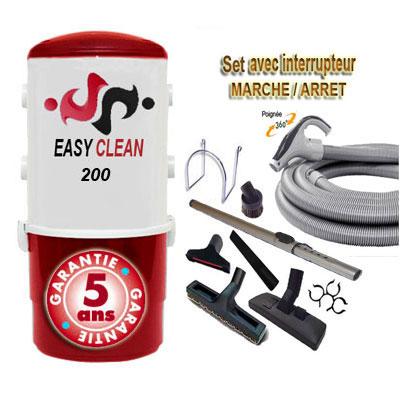 Aspiration centralisée EASY-CLEAN 200 garantie 5 ans (jusqu'à 200 M²) + Set inter 9 M + 8 accessoires + 1 Aspi-plumeau offert