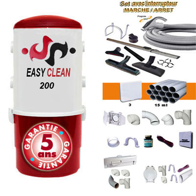 Aspiration centralisée EASY-CLEAN 200 garantie 5 ans (jusqu'à 200 M²) + Set inter 9 M + 8 accessoires + kit 3 prises + kit prise balai + kit prise garage