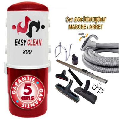 Aspiration centralisée EASY-CLEAN 300 garantie 5 ans (jusqu'à 250 M²) + Set inter 9 M + 8 accessoires + 1 Aspi-plumeau offert