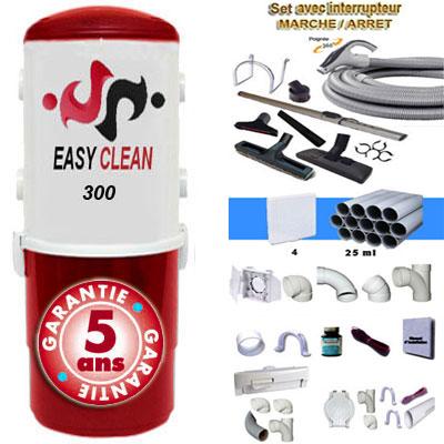 Aspiration centralisée  EASY-CLEAN 300 garantie 5 ans (jusqu'à 250 M²) + Set inter 9 M + 8 accessoires + kit 4 prises + kit prise balai + kit prise garage