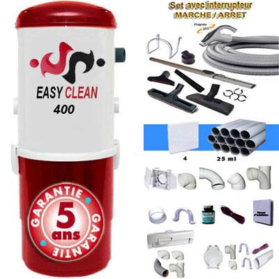 Aspiration centralisée EASY-CLEAN 400 garantie 5 ans (jusqu'à 350 M²) + Set inter 9 M + 8 accessoires + kit 4 prises + kit prise balai + kit prise garage