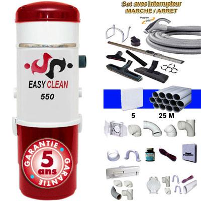 Aspiration centralisée EASY-CLEAN 550 garantie 5 ans (jusqu'à 500 M²) + Set inter 9 M + 8 accessoires + kit 5 prises + kit prise balai + kit prise garage