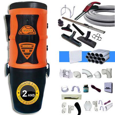 Aspiration centralisée EOLYS 8 à variateur de vitesse GARANTIE 2 ANS (jusqu'à 350 m²) Filtration hybride (avec ou sans sac) + trousse à variateur 9 M + 8 accessoires + kit 4 prises + kit prise balai + kit prise garage