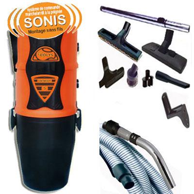Aspiration centralisée EOLYS 8 garantie 5 ans (jusqu'à 350 M²)+ Flexible de 9 m Sonis, systéme de commande sans fils marche/arrêt à la poignée + 8 accessoires
