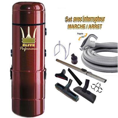 Aspiration centralisée ÉLITE PERFORMANCE garantie 5 ans (de 300 à 600 M²)+ Set inter 9 M + 8 accessoires + 1 Aspi-plumeau offert