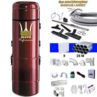 Aspiration centralisée ÉLITE PERFORMANCE garantie 5 ans (de 300 à 600 M²)) + Set inter 9 M + 8 accessoires + kit 5 prises + kit prise balai + kit prise garage
