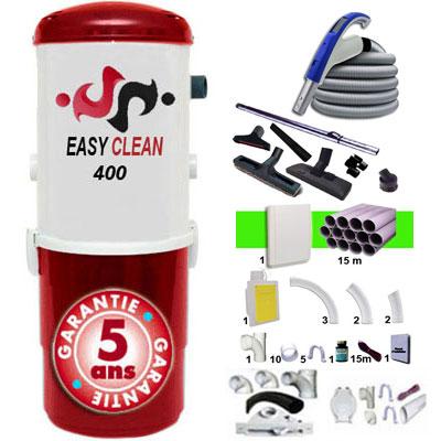 Aspiration centralisée EASY-CLEAN 400 garantie 5 ans + Set 9 m RETRAFLEX + 7 accessoires + kit 1 prise RETRAFLEX nouvelle génération, 20% plus petit que le premier modèle! + kit prise balai (rayon d'action 90 m2)