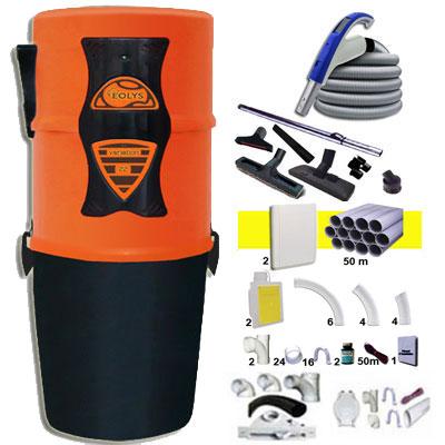 EOLYS 22 garantie 5 ans + 1 Set RETRAFLEX 15 m + 1 Set RETRAFLEX 9 m + 14 accessoires + kit 2 prises RETRAFLEX + kit prise balai (rayon d'action 1 X 150 m2 / 1 X 90 m2)