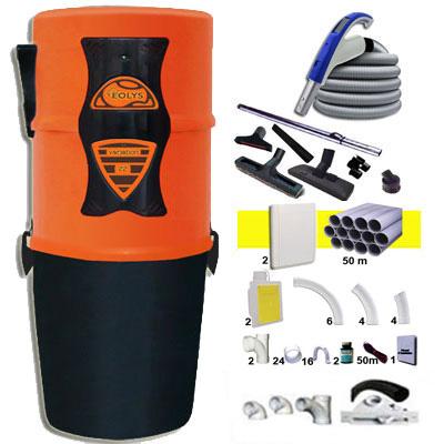 Eolys 22 garantie 5 ans + 2 Sets 15 m RETRAFLEX + 14 accessoires + kit 2 prises RETRAFLEX nouvelle génération, 20% plus petit que le premier modèle! + kit prise balai (rayon d'action 2 X 150 m2)