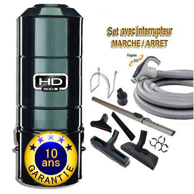 ASPIRATEUR CENTRAL SANS SAC SANS FILTRE HD800C (jusqu'à 350 M²) GARANTIE 10 ans + set inter 9 M + 8 accessoires + Aspi-Plumeau offert