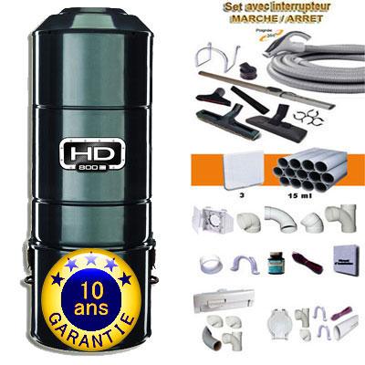 ASPIRATEUR CENTRAL SANS SAC SANS FILTRE HD800C (jusqu'à 350 M²) GARANTIE 10 ans + set inter 9 M + 8 accessoires + kit 3 prises + kit prise balai + kit prise garage