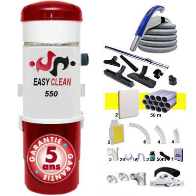 EASY-CLEAN 550 garantie 5 ans + 1 Set RETRAFLEX 15 m + 1 Set RETRAFLEX 9 m + 14 accessoires + kit 2 prises RETRAFLEX nouvelle génération, 20% plus petit que le premier modèle! + kit prise balai (rayon d'action 1 X 150 m2 / 1 X 90 m2)