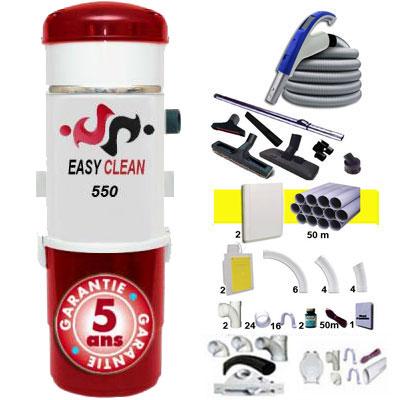 EASY-CLEAN 550 garantie 5 ans + 1 Set RETRAFLEX 15 m + 1 Set RETRAFLEX 12 m + 14 accessoires + kit 2 prises RETRAFLEX + kit prise balai (rayon d'action 1 X 150 m2 / 1 X 120 m2)