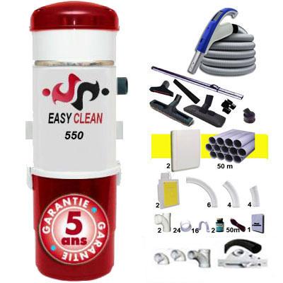 EASY-CLEAN 550 garantie 5 ans + 1 Set RETRAFLEX 15 m + 1 Set RETRAFLEX 12 m + 14 accessoires + kit 2 prises RETRAFLEX nouvelle génération, 20% plus petit que le premier modèle! + kit prise balai (rayon d'action 1 X 150 m2 / 1 X 120 m2)