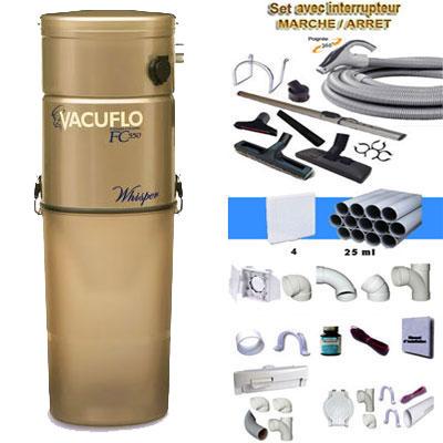 ASPIRATEUR CENTRAL UNITÉ MOTRICE VACUFLO FC 670 (jusqu'à 600 M²) GARANTIE 2 ans + set inter 9 M + 8 accessoires + kit 4 prises + kit prise balai