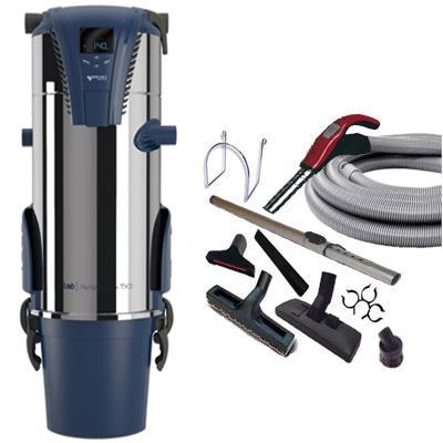 Aspiration centralisée AERTECNICA TX3A (jusqu'à 550 m²), Sans sac - GARANTIE 3 ANS - Avec 1 trousse flexible à variateur 9 M + 8 accessoires + Aspi-Plumeau