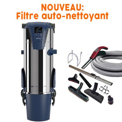 Aspiration centralisée AERTECNICA TX3A (jusqu'à 550 m²) - GARANTIE 3 ANS - Avec 1 trousse flexible à variateur 9 M + 8 accessoires + Aspi-Plumeau