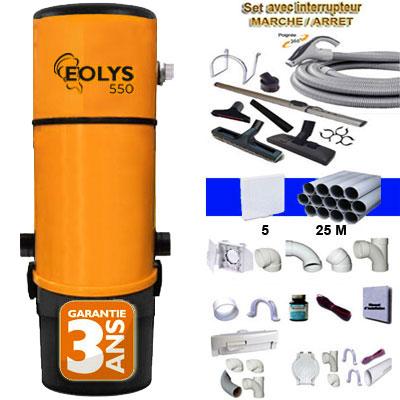 Aspirateur central EOLYS 550 (jusqu'à 500 m²)- Avec ou sans sac + kit on/off 9m, 8 access. Kit 5 prises, kit prise balai, kit prise garage - Un kit flexible garage OFFERT - Garantie 3 ans