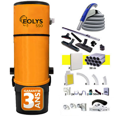 Eolys 550 garantie 3 ans + 1 Set RETRAFLEX 18 m + 1 Set RETRAFLEX 15 m + 14 accessoires + kit 2 prises RETRAFLEX nouvelle génération, 20% plus petit que le premier modèle! + kit prise balai (rayon d'action 1 X 180 m2 / 1 X 150 m2)