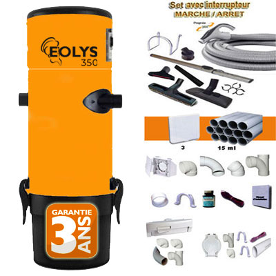 Aspirateur centralisé Eolys 350 + kit flexible 9m variateur de vitesse, 8 access. Kit 3 prises, kit prise balai, kit prise garage - Jusqu'à 250m2 - Un kit flexible garage OFFERT - Garantie 3 ans