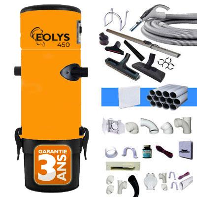 Aspirateur centralisé Eolys 450 - kit flexible 9m variateur de vitesse, 8 access. Kit 4 prises, kit prise balai, kit prise garage - Jusqu'à 350m2 - Garantie 3 ans