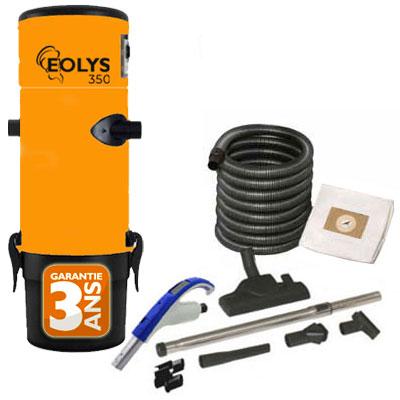 Aspirateur Central type ALDES, EOLYS 350 - Garantie 3 ans - Surface jusqu'à 250 m² - Set de nettoyage