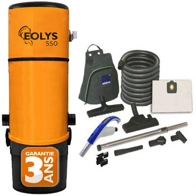 Aspirateur Central type ALDES, EOLYS 550 - Garantie 3 ans - Surface jusqu'à 400 m² - Set de nettoyage