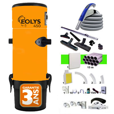 Aspiration centralisée EOLYS 450 garantie 2 ans + Set 12,20 m RETRAFLEX + 7 accessoires + kit 1 prise RETRAFLEX nouvelle génération, 20% plus petit que le premier modèle! + kit prise balai (rayon d'action 120 m2)