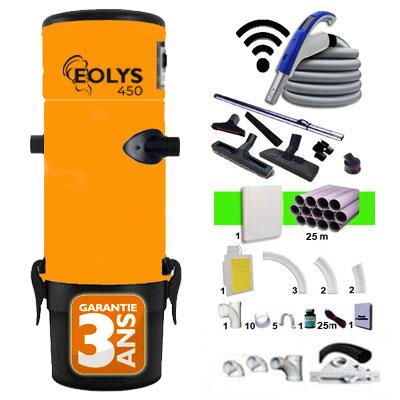 Aspiration centralisée EOLYS 450 garantie 2 ans + Set 9 m RETRAFLEX marche/arrêt à télécommande intégrée + 7 accessoires + kit 1 prise RETRAFLEX nouvelle génération, 20% plus petit que le premier modèle! + kit prise balai (rayon d'action 90 m2)