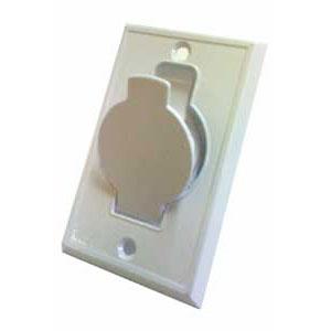 Prise métal porte ronde blanche