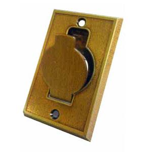 prise métal porte ronde bronze