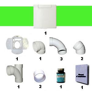 Ensemble 1 prise carrée blanc sans tuyaux