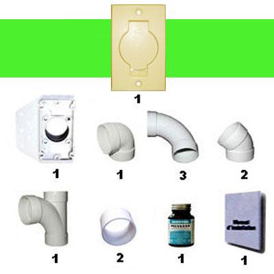 Kit 1 prise clapet rond ivoire sans tuyau