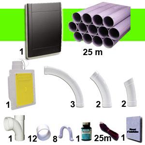 Kit 1 prise RETRAFLEX noire avec 25m de tuyaux pvc (pour flexibles de 15m et 18m non fournis)