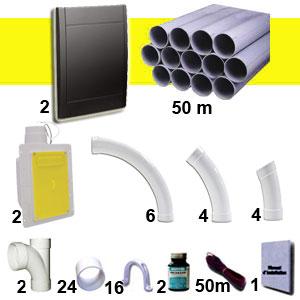 Kit 2 prises RETRAFLEX noires avec tuyaux pour flexible de 15m et 18m