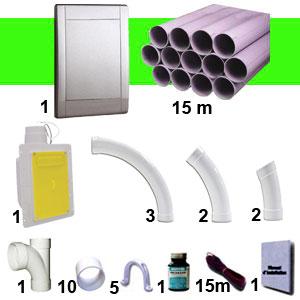 Kit 1 prise RETRAFLEX gris inox avec 15m de tuyaux pvc (pour flexibles de 9m et 12m non fournis)