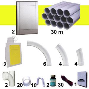 Kit 2 prises RETRAFLEX gris inox avec tuyaux pvc (pour flexibles de 9m et 12m non fournis)