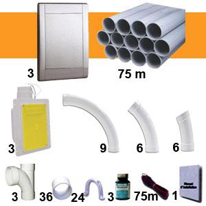 Kit 3 prises RETRAFLEX gris inox avec tuyaux pvc (pour flexibles de 15m et 18m non fournis)