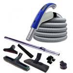 EASY-CLEAN 550 garantie 5 ans + 2 Sets 15 m RETRAFLEX + 14 accessoires + kit 2 prises RETRAFLEX nouvelle génération, 20% plus petit que le premier modèle! + kit prise balai (rayon d'action 2 X 150 m2)