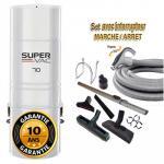 Aspirateur central hybride HAYDEN SuperVac 70 GARANTIE 10 ANS (jusqu'à 350 m²)+ trousse inter 9 ML + 8 accessoires + 1 Aspi-plumeau offert