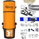 Aspirateur central EOLYS 550 (jusqu'à 500 m²)- Avec ou sans sac + kit on/off 9m, 8 access. Kit 5 prises, kit prise balai, kit prise garage - Garantie 3 ans