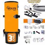Aspirateur centralisé Eolys 350 + kit flexible 9m variateur de vitesse, 8 access. Kit 3 prises, kit prise balai, kit prise garage - Jusqu'à 250m2 - Garantie 3 ans