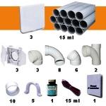 Aspiration centralisée AERTECNICA TX3A (jusqu'à 550 m²) - GARANTIE 3 ANS  - Avec 1 trousse flexible à variateur 9m + 8 accessoires + kit 3 prises + kit prise balai + kit prise garage