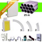 Kit 1 prise RETRAFLEX blanche nouvelle génération, 20% plus petit que le premier modèle! avec 25m de tuyaux pvc (pour flexibles de 15m et 18m non fournis)