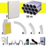 Kit 2 prises RETRAFLEX blanches nouvelle génération, 20% plus petit que le premier modèle! avec tuyaux pour flexible de 15m et 18m